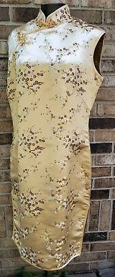 CHAMPAIGNE EMBROIDERED cheongsam W/ SIDE SLITS FROG CLOSURES 40-35-44 NEW W/TAG