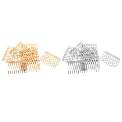 20 Pieces Blank Metal Hair Combs for Bridal Hair Accessories DIY Gold Silver