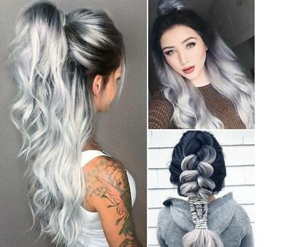 White Grey Silver Lace Front Wig Heat Resistant Synthetic Hair Long Wavy Wigs