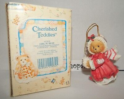 1993 Dated Cherished Teddies Christmas Ornament GIRL Bear with MUFF BOX 912832