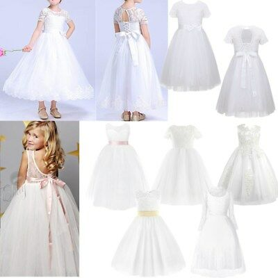 Flower Girl Princess Lace Bridesmaid Wedding Dress Kids Pageant Lace Tulle Gown