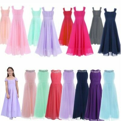 Flower Girls Junior Chiffon Dance Prom Wedding Gown Bridesmaid Party Long Dress