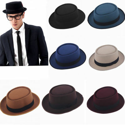Men Women Hard Felt Pork Pie Cap Fedora Bowler Hat Derby Homburg Hats Band New