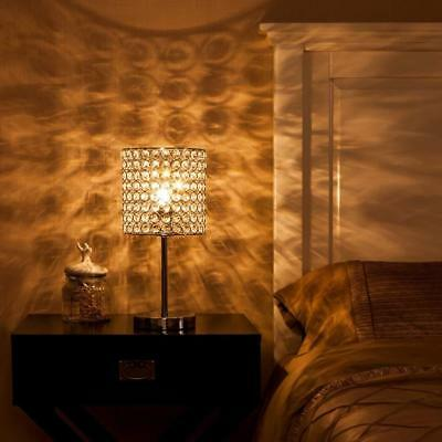 Modern Crystal Table Lamp, Table Lamps with Chrome Crystal Shade for Bedroom