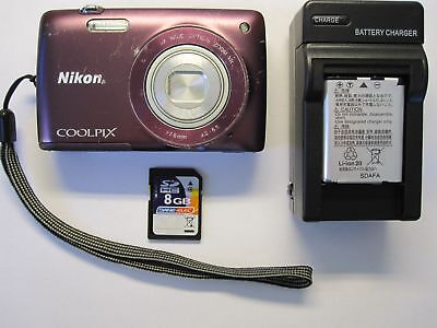 Nikon COOLPIX S4300 16.0MP Digital Camera - Plum Tested Fast Free Shipping