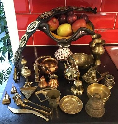 Job Lot 36 Brass Items Dolls House Miniatures Tongs Dish Vase Horse Brass 4Kg