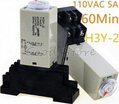 1Set base /& time timer relay 8pin H3Y-2 H3Y DC12V 5A 2.0min-60min 60min UK