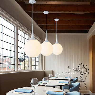 Modern White Glass Ball Globe Pendant Light Single Drop Ceiling Lamp Fixture