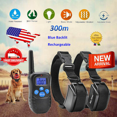 300m Shock Collar Rechargeable LCD Electric Remote Anti-Bark Pet Dog Training