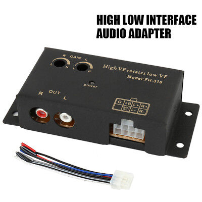 Delay High to Low Line Out 2 RCA Socket Car Audio Speaker Level Converter