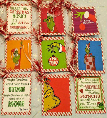 9 Christmas Grinch~Gift Hang Tags~Scrapbooking~Card Craft Embellishments