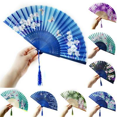 Chinese Flower Bamboo Folding Hand Held Fan Elegant Lady Wedding Party Dance