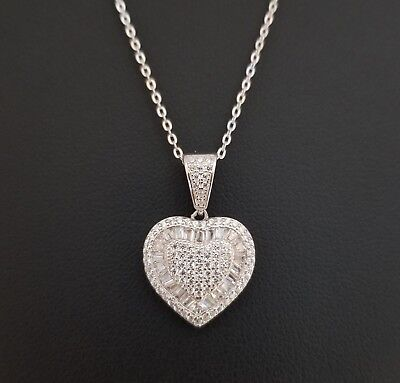 14k White Gold Over Sterling Silver Baguette Cut Diamond Heart Pendant Necklace