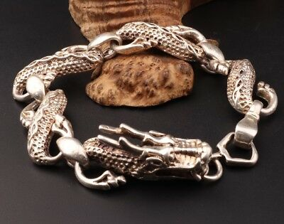 China Rare Tibetan Silver Hand-Carved Dragon Animal Statue Bracelet Jewelry
