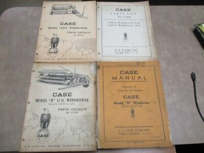 Lot of 4 Case Model AW8, AW9, B Windrower & Model B Wondrower Operating Manual