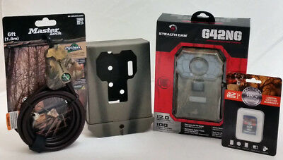 Stealth Cam G42NG 12MP Trail Camera   8GB SD Card   Python Cable   Security Box