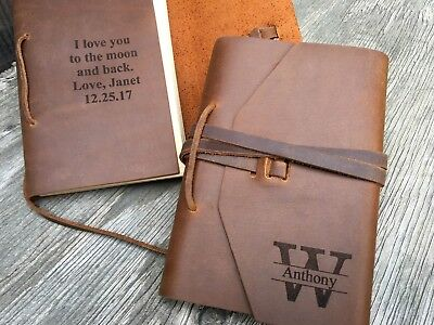 Personalized Leather Journal Notebook Sketchbook Travel Diary Gift Last Initial