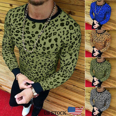 Fashion Men's Slim Fit O Neck Long Sleeve Leopard Tee T-shirt Casual Tops Blouse