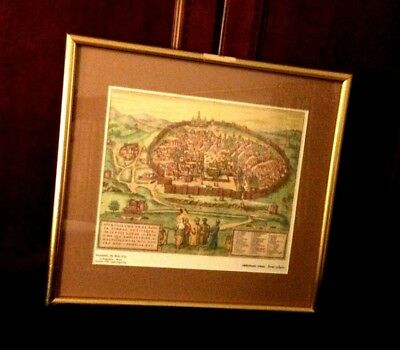 Jerusalem, the Holy City by Hogenberg - Braun  Germany 1584, copper engraving