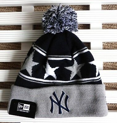 NY YANKEES New Era Navy Bobble Beanie Hat MLB Toque OSFA New York Pompom USA