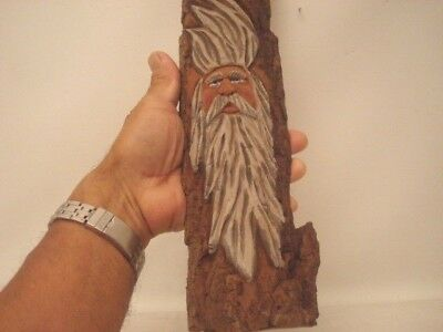 "14"" Hand Carved Cottonwood  Primitive Rustic Wind Spirit / Wizard Wall Decor"