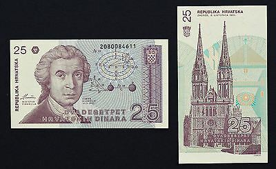 Kroatien P19a, 25 Dinar, Geometrische Calculations / Zagreb Cathedral 1991 UNC