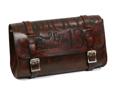 Lucky 13 Leather bag Tool Pouch Motorcycle Chopper Bobber Tattoo MFC co. BROWN