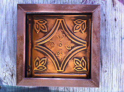 "Tin Ceiling Art Distressed Vintage Copper With Wood Frame 6""X6"" USA Made #701"