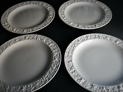 "4 Wedgwood Cream on Cream Queen's Ware Smooth Rim 10"" Dinner Plates"