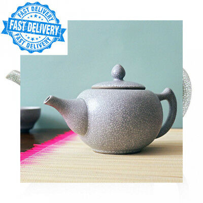 Ru Ceramic Teapot, White Crackle, 700ml, 2 Cup Tea Pot with Infuser for Loose