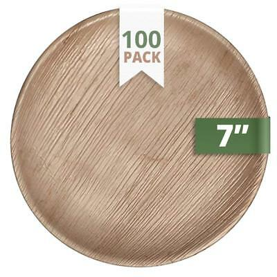 """100X CaterEco BIODEGRADABLE DISPOSABLE Round Palm Leaf 7"""" Salad Plates"""