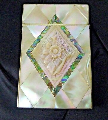 Calling Card Case Antique Mother Of Pearl Abalone Shell Carved Bird Floral TLC
