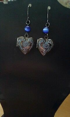 Victorian look heart locket earrings for photos