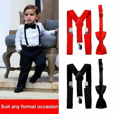 Polyester Kids Design Suspenders and Bowtie Bow Tie Set Matching Ties Outfits RY