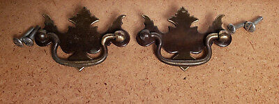 "Pr Vintage Brass Plated Metal Chippendale Style Drawer Pulls 2 1/2"" Ctr To Ctr A"