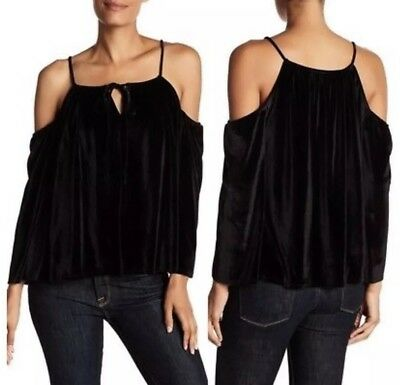 499164f8f9553 NWT Laundry by Shelli Segal  79 black velvet cold shoulder XL keyhole top  Xmas