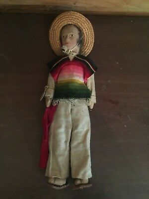 Old Vintage Mexican Folk Art Cloth Doll Made in Mexico