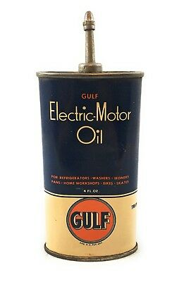 1940's Vintage Gulf oil Corp. Electric-Motor Oil Lead Top Handy Oiler, Tin Can