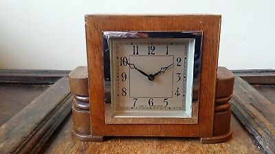 1920's Antique Art Deco Mantel Clock -Oak & Chrome - 30 Hours Good Working Order