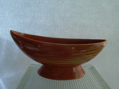 Vintage McCoy Harmony Line Stoneware Boat-shaped Planter. Tangerine and Yellow.