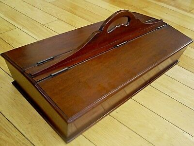 "Superb Large Antique Georgian Solid Mahogany Lidded Cutlery Box 19.5"" Long"