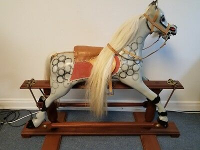 Traditional Victorian Large Carved Rocking Horse Grey Tan Horse Hair W. Baker