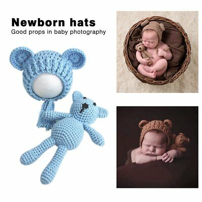 Newborn Baby Boy Girl Photography Prop Outfit Photo Knit Crochet Doll + Hat RY
