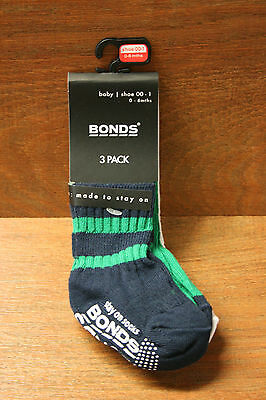 Baby boys Bonds socks sz 00 0-6 months NEW  3 pack