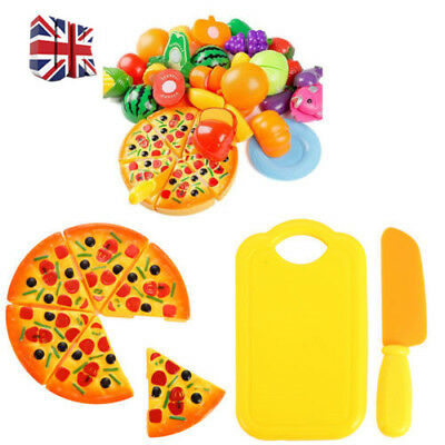 Baby Kids Toy Pretend Role Play Kitchen Fruit Vegetable Cake Food Cutting Sets