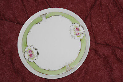Vintage Nippon Hand painted plate Floral lime green flowers