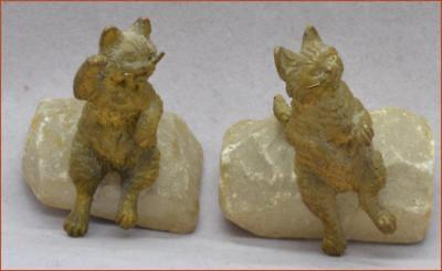 Antique Austrian Bronze Cats Sitting On Alabaster Bases Nice Older Mini Examples