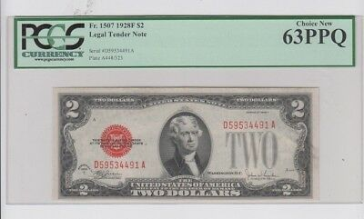 Red Seal $2 1928-F PCGS graded  Choice New 63PPQ