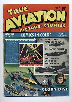 """True Aviation Picture-Stories #5 G/vg 2"""" Tear Top Front Cover"""