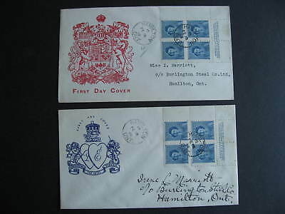 Canada unknown cachet 2 FDC first day covers, QEII Sc 276 plate blocks